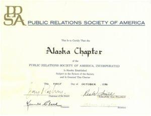 Certificate from national establishing AK chapter